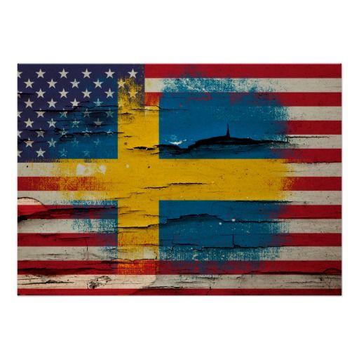 Knastra målar | den svenska amerikanska flaggan poster