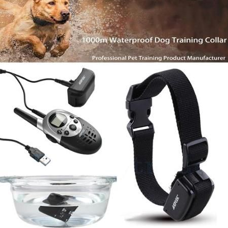 AGPtek 1000 Yard Hunting Rechargeable Waterproof Dog Training Shock Collar with Remote and Adjustable Collar Length