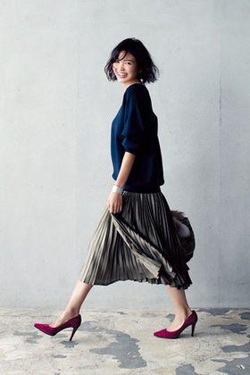 秋色を選んで♡プリーツスカートを大人かわいく着こなそう - NAVER まとめ