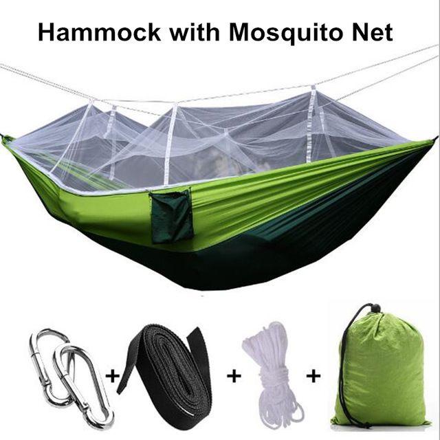Camping Rede com Mosquiteiro Tecido Parachute Hammock Única Pessoa Portátil para Acampamento Ao Ar Livre Do Jardim Sofá Cama Enforcamento