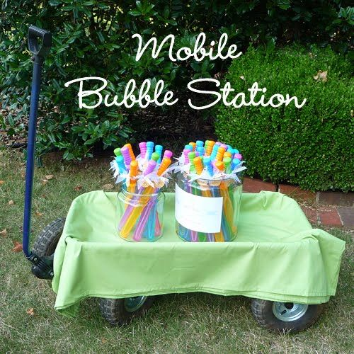 Have bubbles will travel... cute mobile bubble station.