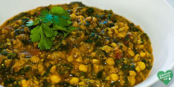 Spinat-Dal mit roten Linsen, low carb Diät rezept