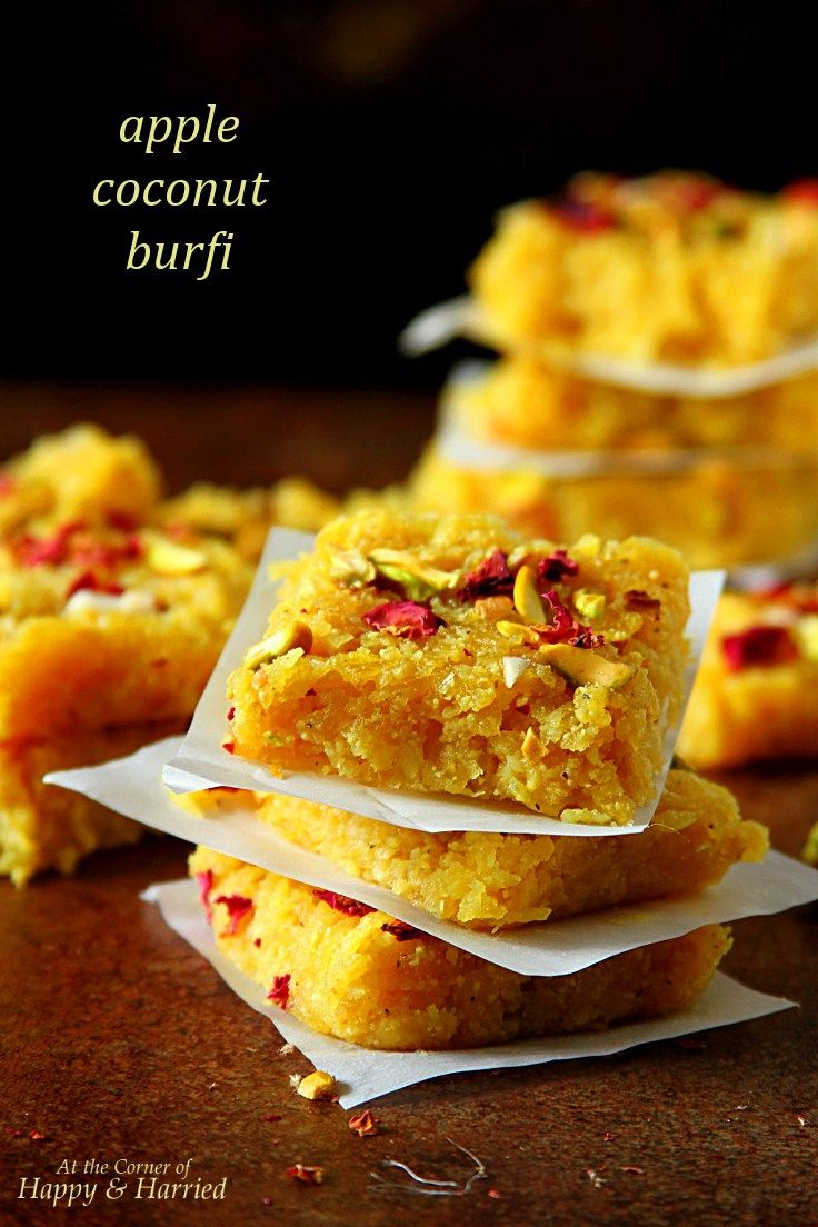 APPLE COCONUT BURFI (OR BARFI), INDIAN FUDGE DESSERT recipe for a super gorgeous Mother's Day brunch dessert.