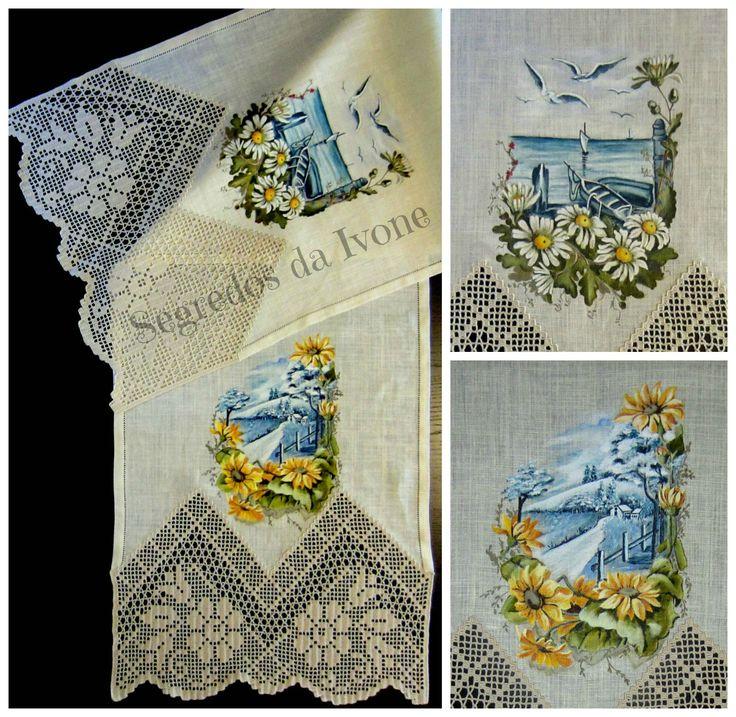 CM50-Confecção, crochet e pintura em caminho de mesa em linho