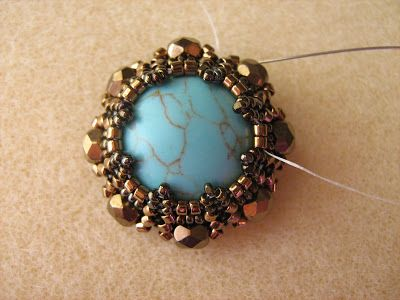 "Beads Fantasy: Master Class. Set ""Vintage"". Tutorial for beaded bezel."