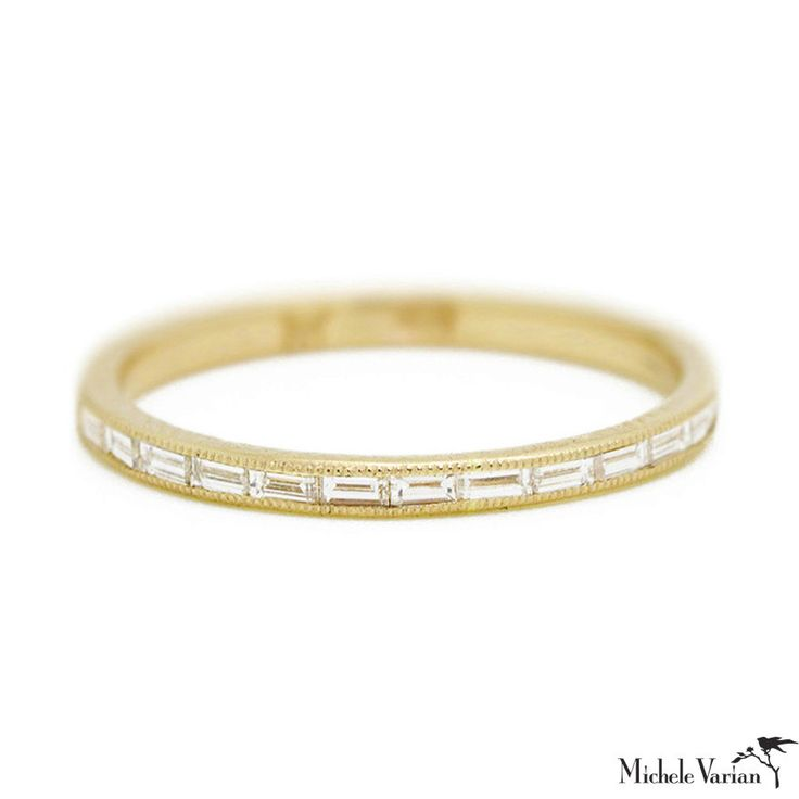 - Shiny 14k yellow gold - 13x conflict free diamond baguettes {VS1, G-H} - Approx. 0.26 total carat weight - 2mm wide - Handmade in Brooklyn, New York Sizing: All ring sizes are made to order and have