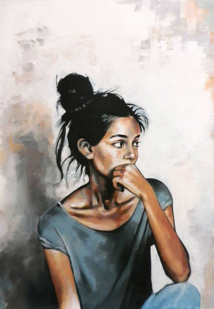 """Saatchi Art Artist: Thomas Saliot; Oil 2015 Painting """"Nice girl looking at her boyfriend and wondering how to dump him (sold)"""""""