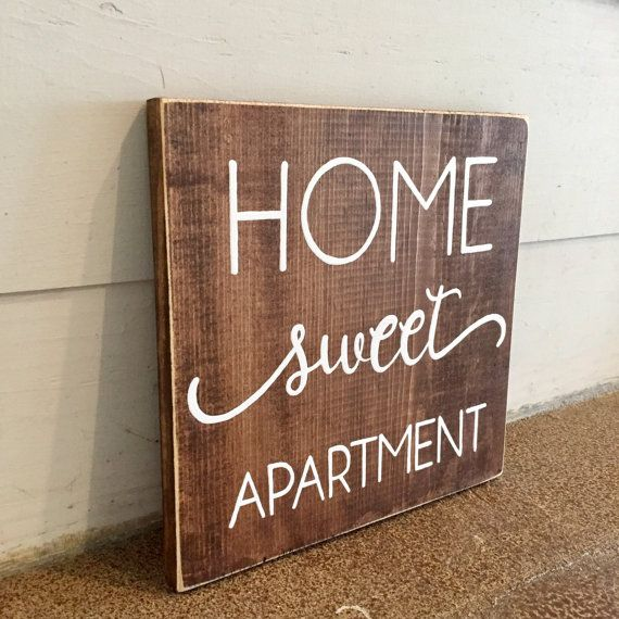Home Sweet Apartment Wood Sign Apartment Decor by WiscoFarms