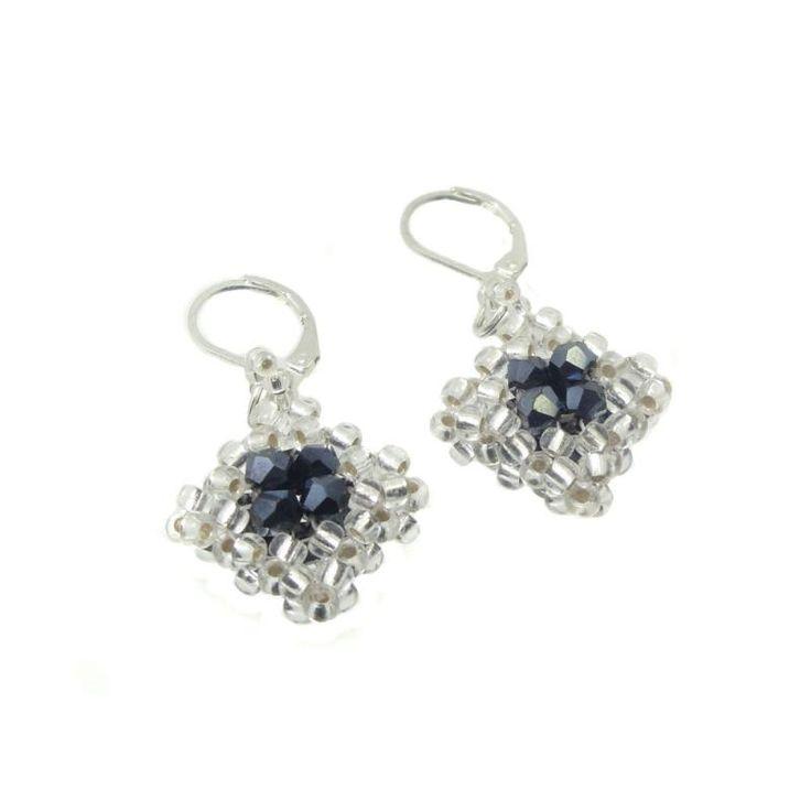 Ohrringe - Ohrhänger - Kristall Glasschliff - Hämatit / Silber - Handarbeit