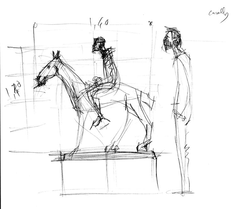 #Esboços per una #exposició.  #Cavall #genet #visitant #llapis  #Sketches for an #exhibition. #Horse #jockey #pencil #visitor