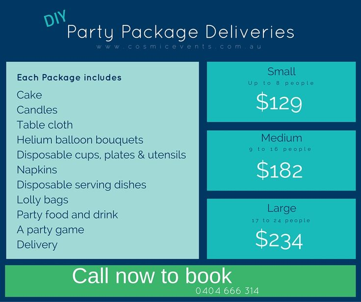 #DIYpartyPackages prices for a limited time only. Get them while they're hot! Call now to book 0404 666 314 #Party #Buy