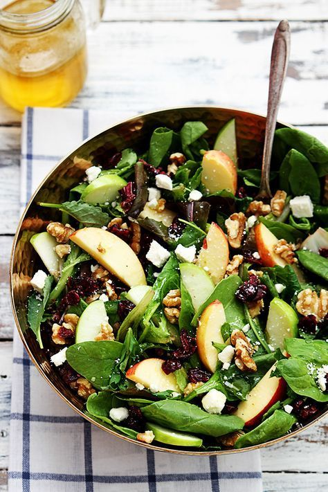Apple Cranberry Walnut Salad Crisp apples dried cranberries feta cheese and hearty walnuts come together in a fresh salad!