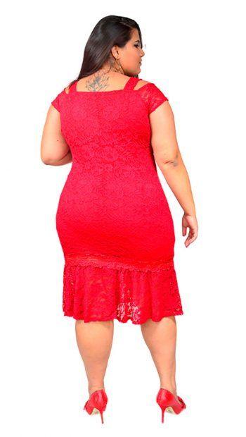 Vestido Curto Plus Size em Renda com ombros vazados – Moda Maior Plus Size 57ce5d0b530a