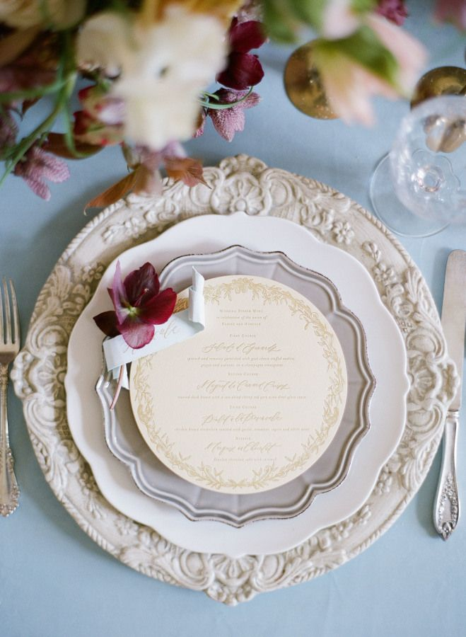 Beautiful wedding plates and menu: http://www.stylemepretty.com/2016/08/08/a-storybook-parisian-wedding-inspiration/ Photography: Greg Finck - http://www.gregfinck.com/