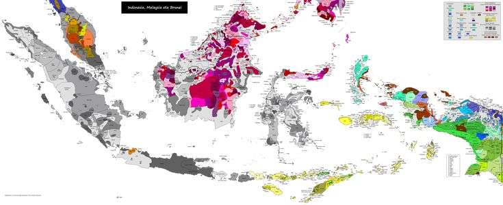 Linguistic map of Indonesia (inc. Malaysia, Singapore, Brunei, East Timor and southern tip of Philippines)