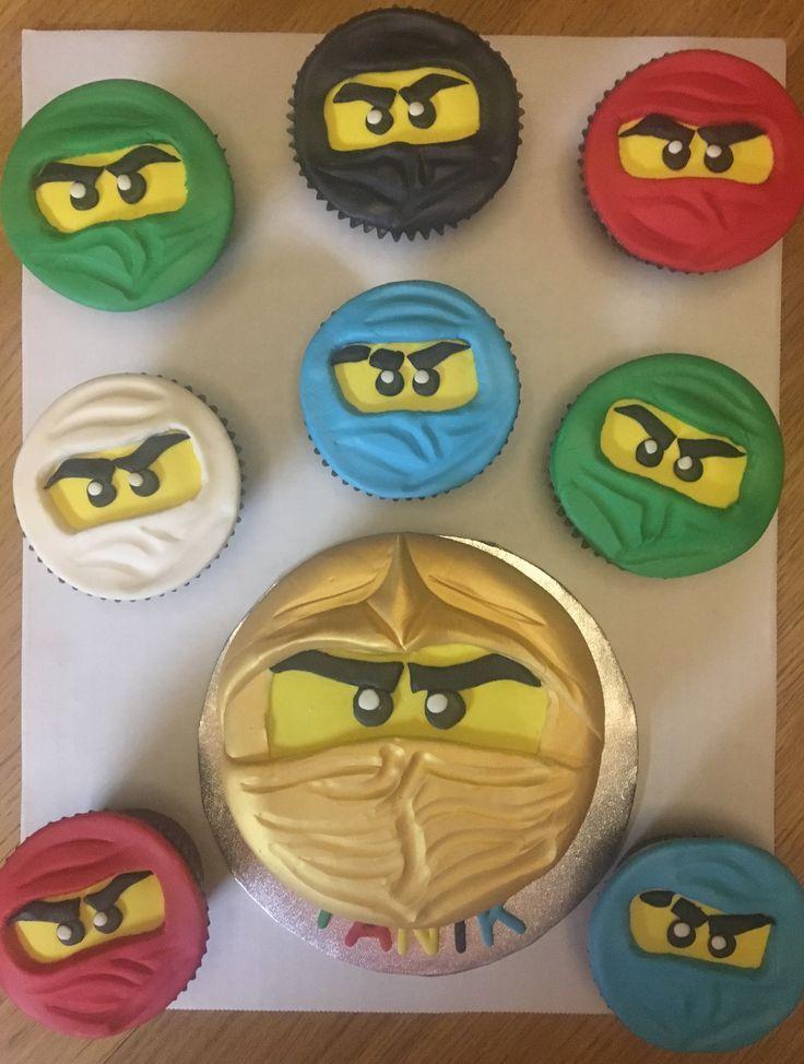 Lego Ninjago golden Ninja cake and cupcakes