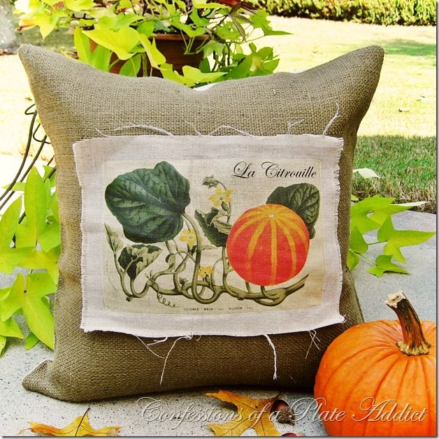 CONFESSIONS OF A PLATE ADDICT: Linen and Burlap...Vintage French Pumpkin Pillow