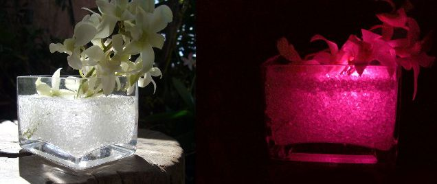 """Colorfill """"Diamond"""" Vase Filler 2 lb bag $6.99 each / 3 for $6 each. First photo shows the Diamond Vase Filler in water. Second photo shows with a Submersible Floralyte or Aquabrite in the vase."""