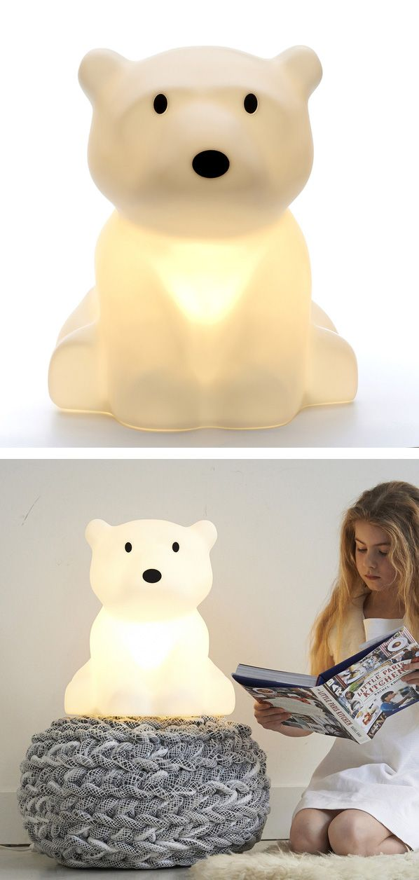 Polar Bear Lamp - that's cool, but what I'm eyeing is that little grey pouf thing
