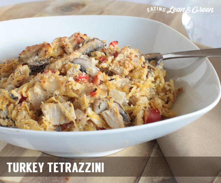 2/14/16  Eating Lean & Green: Turkey Tetrazzini - from Joy.  Used home-smoked Thanksgiving turkey, less salt, 1/4C 2% milk, and reg cream cheese.  Baked in a long baking dish so I sprinkled a little more Parmesan on top than recipe called for.  So good, but would use plain turkey next time.