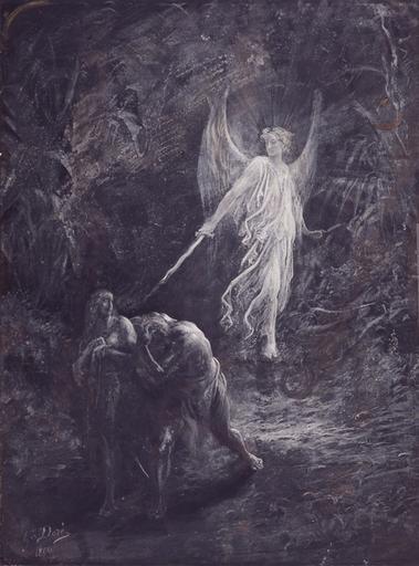 Artwork: Adam and Eve after the fal  Artist: DORÉ, Gustave  Date: 1866  Technique: Aquarelle and gouache on paper  Location: Musée d'Art Moderne et Contemporain, Strasbourg