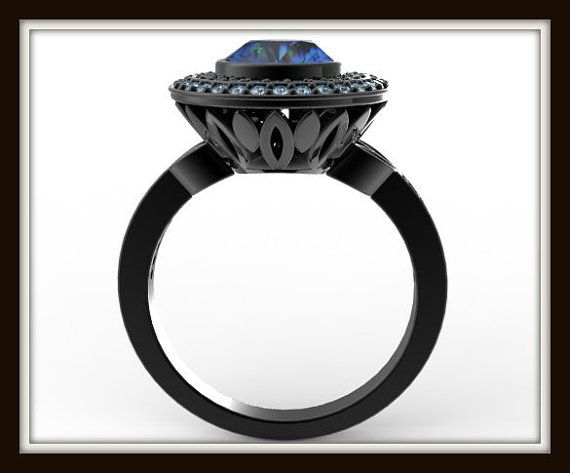 Black Gold Blue Diamond Engagement Ring Unique by Vidarjewelry