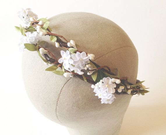 White Flower Crown bridal floral crown flower by WoodlandBlossoms