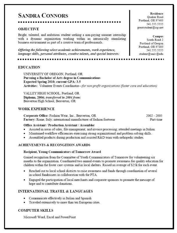 Student Resume Example Resumeexamples Resume Examples Simple