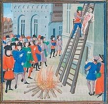 From Froissart's Chroniques, the execution of Hugh le Despenser, 1326. He was convicted of multiple crimes. Queen Isabella really hated him. Alison Weir speculates he raped her. It's in her 2005 book