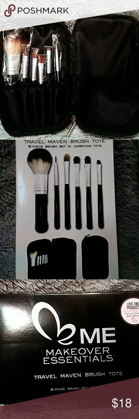 Travel Brush tote 6 brushes including powder,  eyeliner,  concealer,  eyeshadow , eye cream  and eye brow. Carrying tote duel sided Makeover Essentials Makeup Brushes & Tools