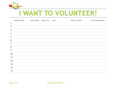 Back to School Volunteer Sign Up Sheet - I Want to Volunteer from HappyEdugator on TeachersNotebook.com (3 pages)