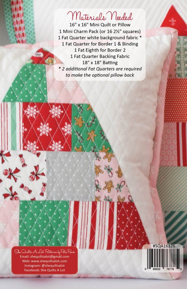 Put some Christmas cheer around your house with this fun mini quilt & pillow pattern with a mini charm pack and a couple of fat quarters!...