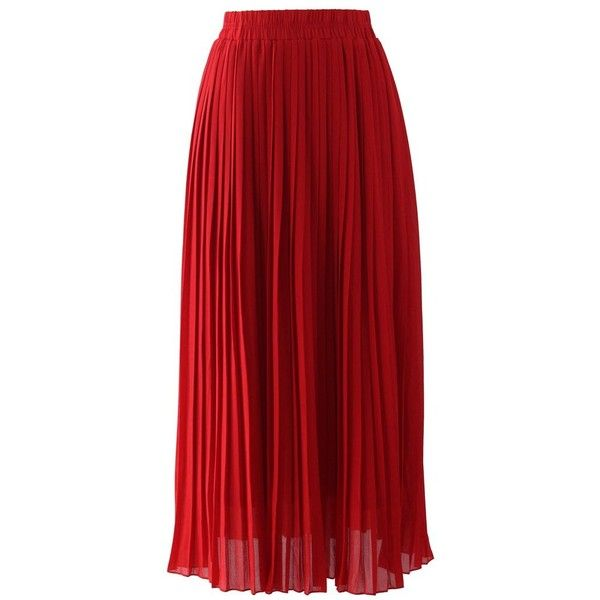 Chicwish Chiffon Pleated Maxi Skirt in Red ($37) ❤ liked on Polyvore featuring skirts, bottoms, saias, faldas, maxi skirts, red, accordion pleated maxi skirt, long chiffon skirt, long accordion-pleat skirt and long pleated chiffon skirt