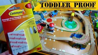 Don't ruin your train table with glue or nails watch this video on How To Make a Toddler Proof Train Table with Wooden Train Tracks, 3M Strips, Poster Tack & SureTracks and most importantly without using any glue or nails! This works with Kidcraft, Melissa and Doug, Brio tracks and more! I was so excited to finally find a way to get the tracks stuck in place without nailing or gluing them down and ruining our table and expensive track pieces!