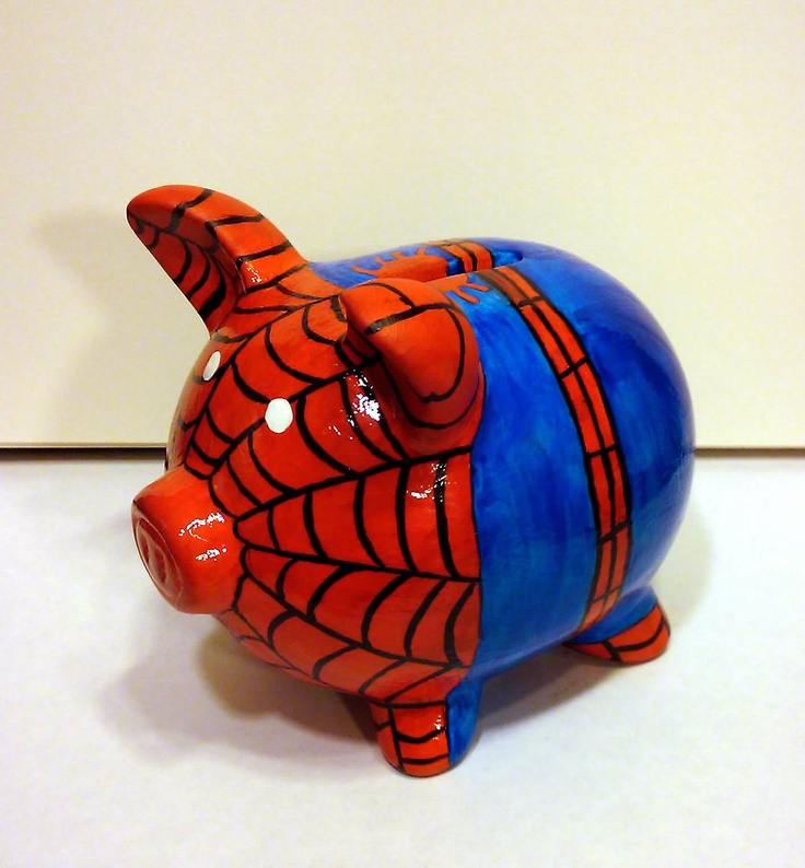 Super Hero Piggy Banks. Your favourite piggy banks: http://www.helpmetosave.com/2012/02/piggy-bank/