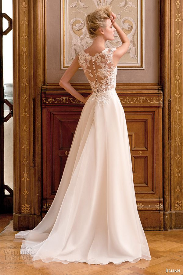 jillian 2015 wedding dress sleeveless bateau sheer neckline lace bodice a line bridal gown back view | top 30 most popular wedding dresses on wedding inspirasi in 2014 http://www.jexshop.com/