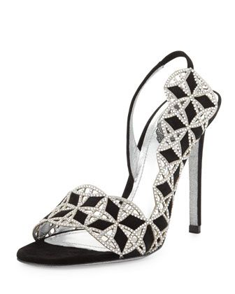 Suede+&+Crystal+Slingback+Sandal,+Black+by+Rene+Caovilla+at+Neiman+Marcus. #i think this is Elegant