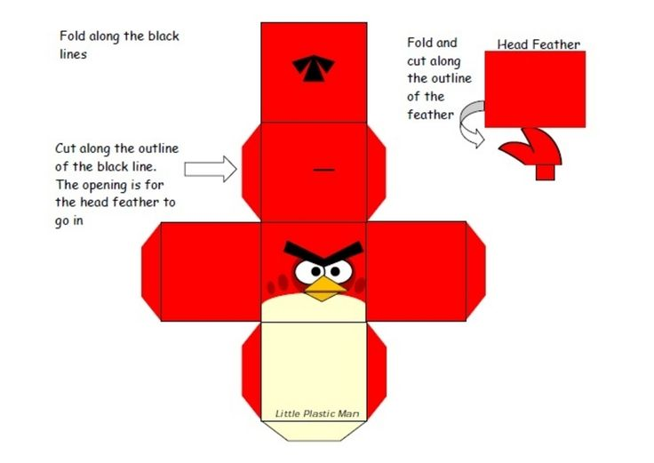 Imprimer le patron paper toy Angry bird 1