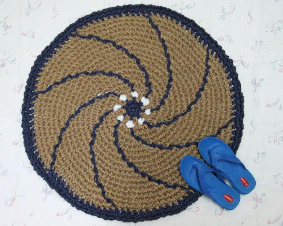 This Is An All Natural Handmade Round Jute Throw Rug In A Spiral Or Pinwheel Design