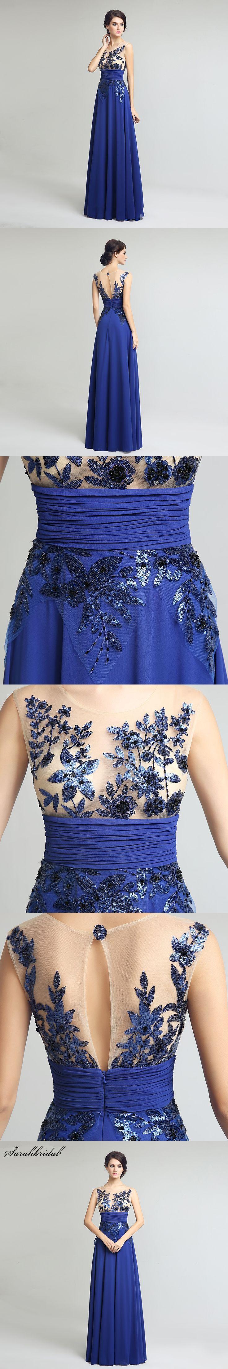 Elegant Illusion Prom Dresses Neck Sequined Applique Royal Blue Chiffon Dresses Vintage Graduation Party Dresses Robe SLD159
