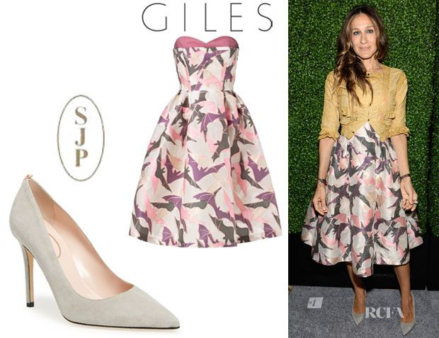 SJP looking gorgeous wearing Giles and her own fawn shoes.