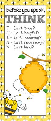 BEES - Classroom Decor: LARGE BANNER, Before You Speak from ARTrageous Fun  on TeachersNotebook.com -  (1 page)  - BEE theme classroom decor / character education banner / Before You Speak ... THINK / vistaprint