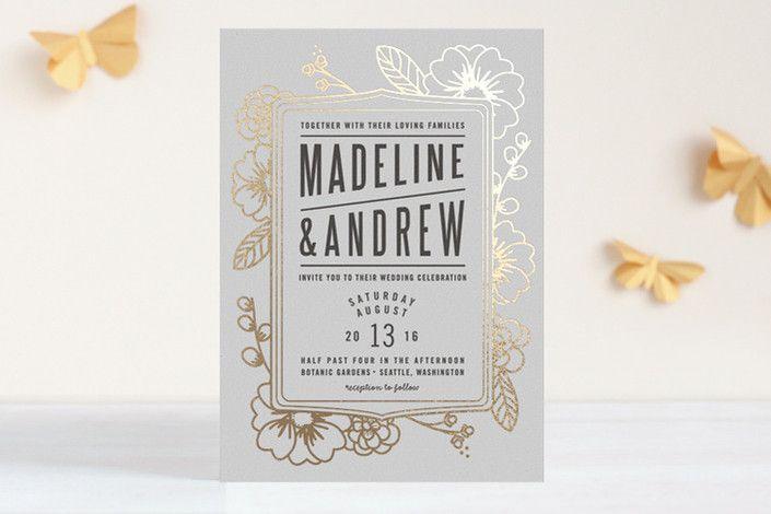 Modern Botanicals Foil-Pressed Wedding Invitations by natalie nakai at minted.com