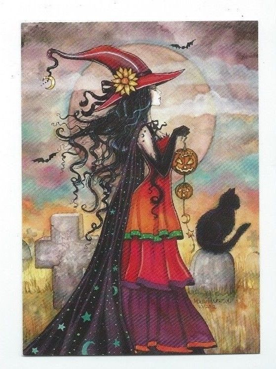 """Molly Harrison """"Witch Way"""" Limited Edition of 33 Halloween Postcard"""