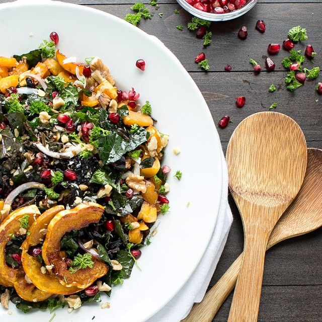 Kale & Wild Rice Salad with Maple Roasted Squash. Find this #recipe and more on our Mindful Meals Feed at https://feedfeed.info/mindfulcooking?img=207992  #feedfeed