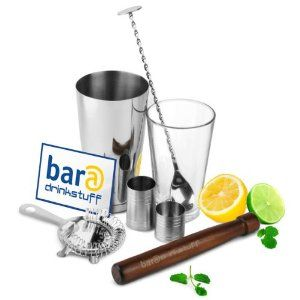 bar@drinkstuff Home Cocktail Set - Boston Cocktail Shaker Set - Cocktail Making Kit in Recyclable Gift Box with Boston Cocktail Shaker Tin & Glass, Hawthorne Cocktail Strainer, Muddler, Twisted Mixing Spoon, 25ml & 50ml Thimble Bar Measure: Amazon.co.uk: Kitchen & Home