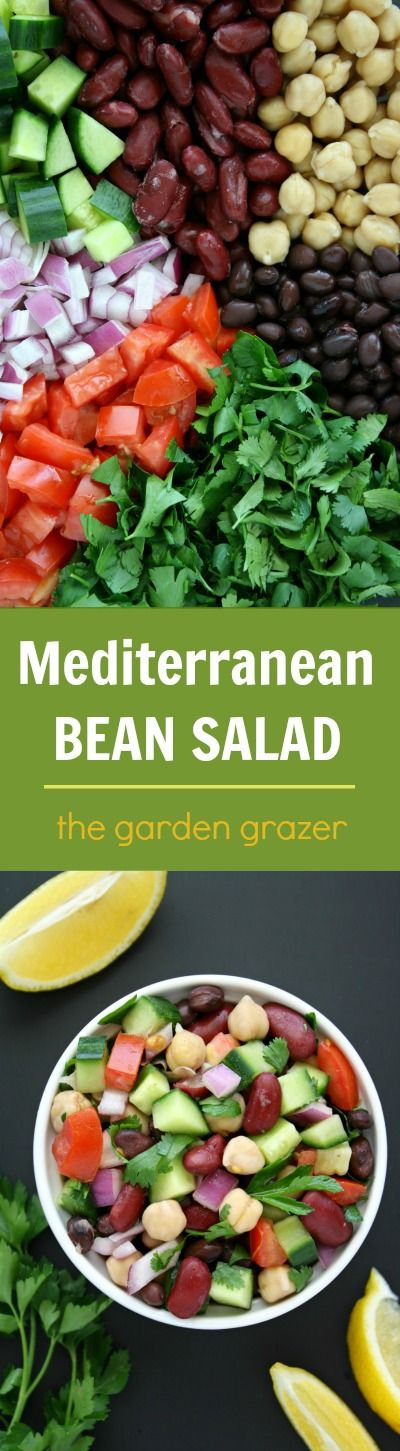 We LOVE this salad!! Easy, refreshing, protein-packed Mediterranean Bean Salad with a bright lemony dressing and fresh herbs. Awesome for picnics and take-along lunches too! #vegan #salad