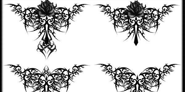 gothic tribal rose tattoo lb upper left design with deep purple rose weddings 15. Black Bedroom Furniture Sets. Home Design Ideas