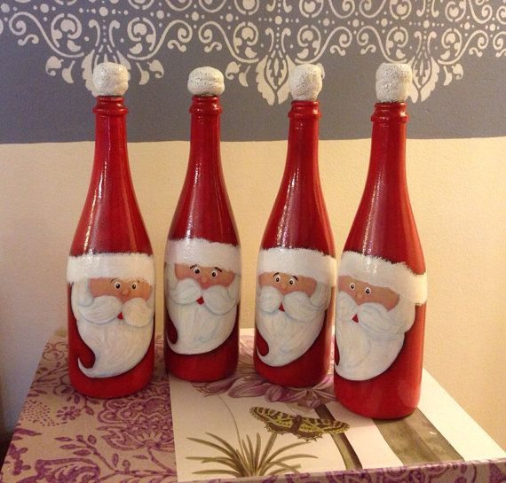 Christmas Hand Painted Santa's Wine Bottle, reclaimed wine bottle, recycled…