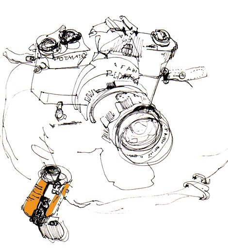 Like the woman, a messy but very interesting sketch of the lines of a camera. Blind Contour Friday
